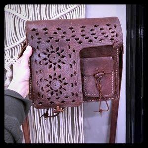 Handbags - Handmade brown leather detailed boho saddle purse